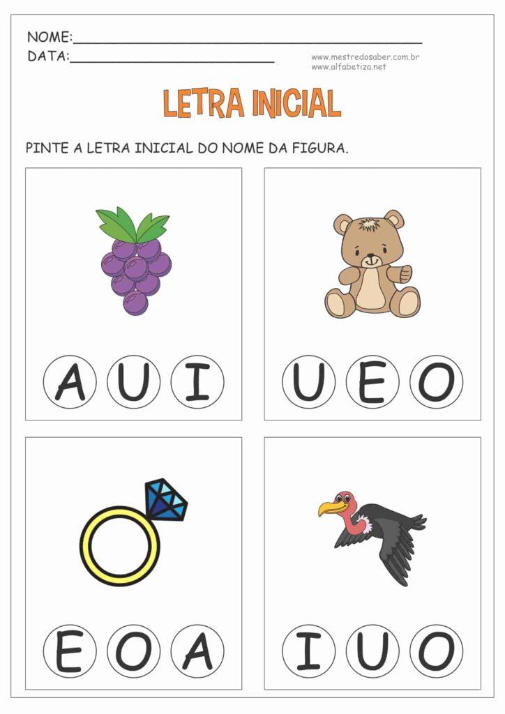 1 - Atividades com Letra Inicial para Educação Infantil