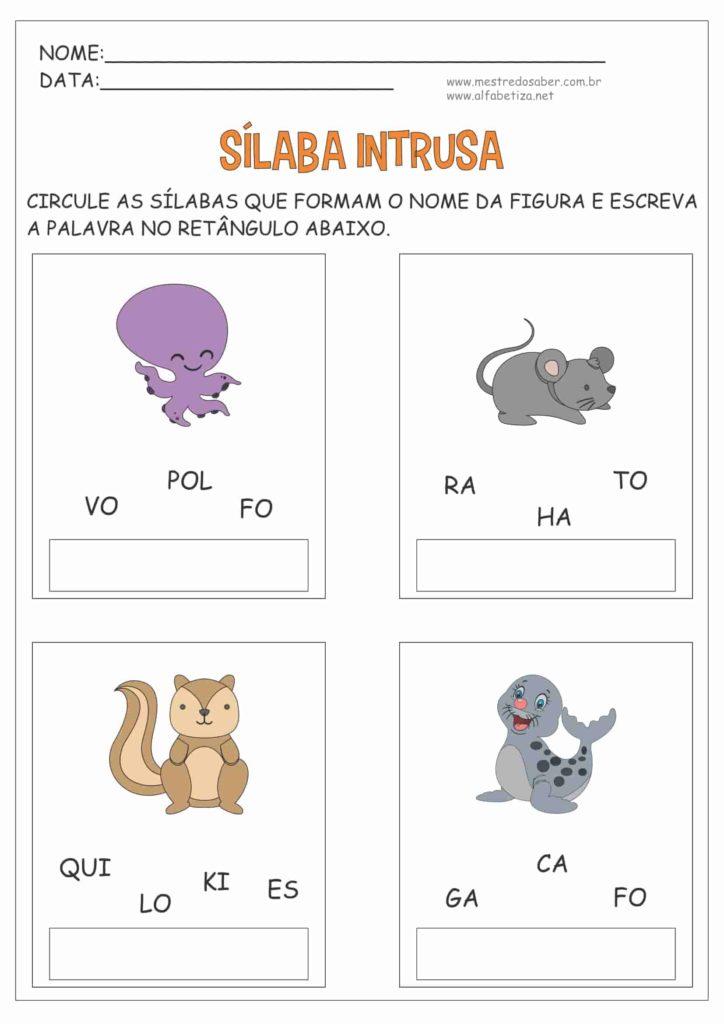 1 - Atividades com Sílabas para Alfabetização