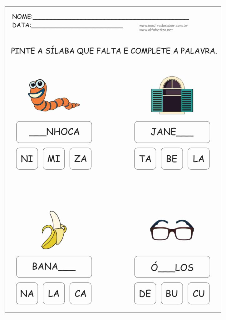 1 - Atividades de Alfabetização Sílabas