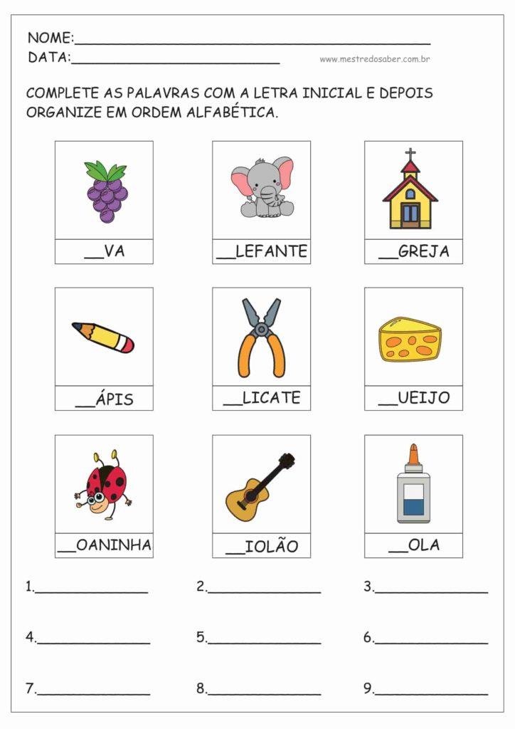 1 - Atividades de ordem alfabética
