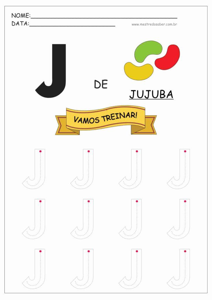 Letra J - Alfabeto Pontilhado para Imprimir