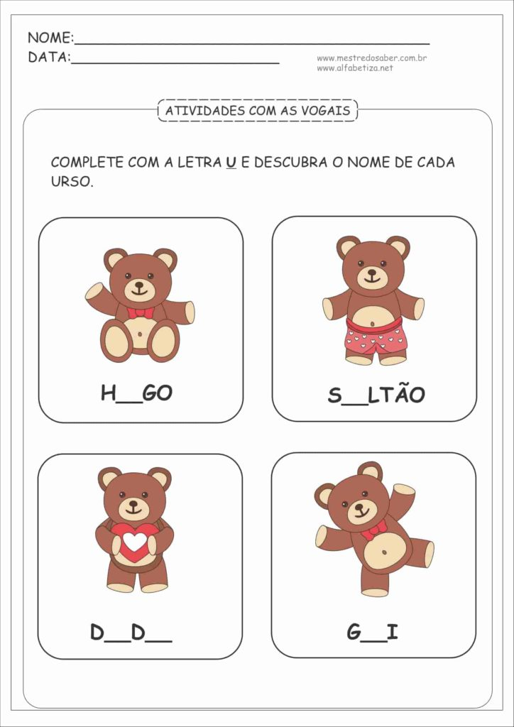 10 - Atividades com as Vogais para Educação Infantil