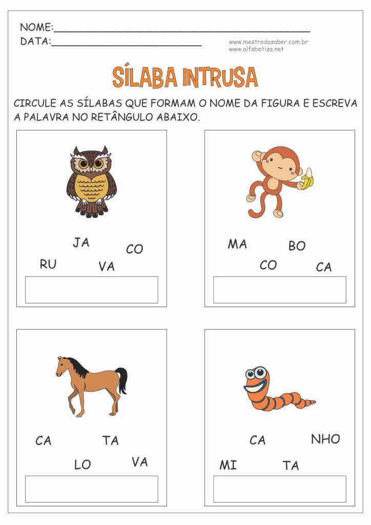 10 - Atividades com três Sílabas para Alfabetização