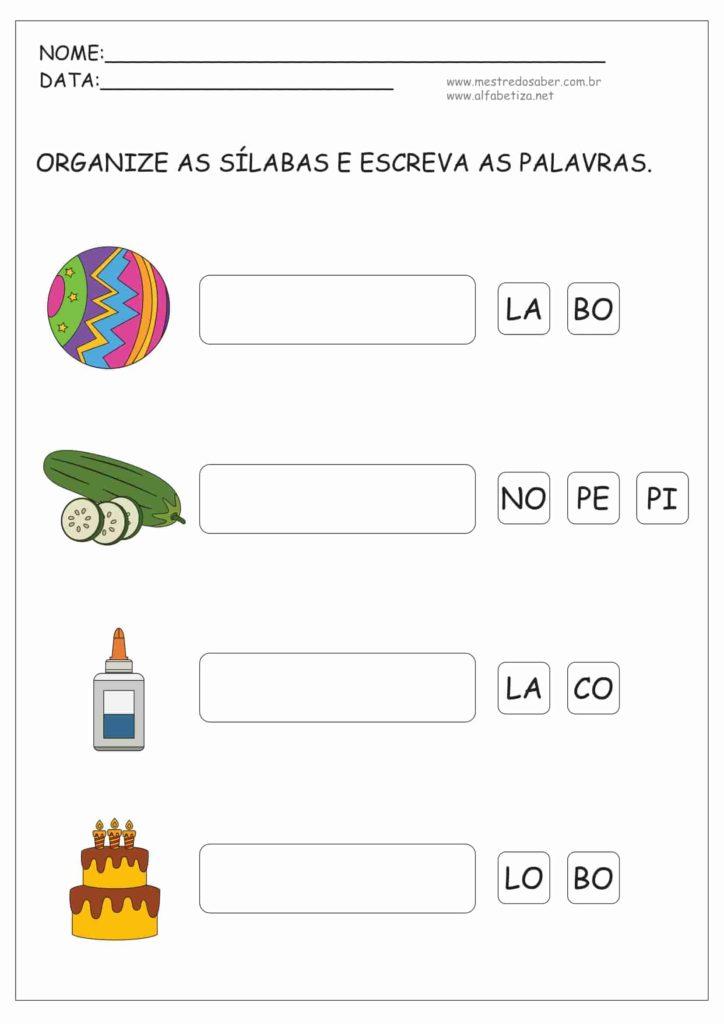 10 - Atividades de Alfabetização Sílabas Simples