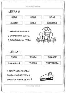 10 - Fichas de Leitura para Alfabetização