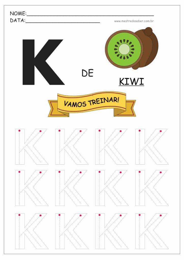 Letra K - Alfabeto Pontilhado para Imprimir