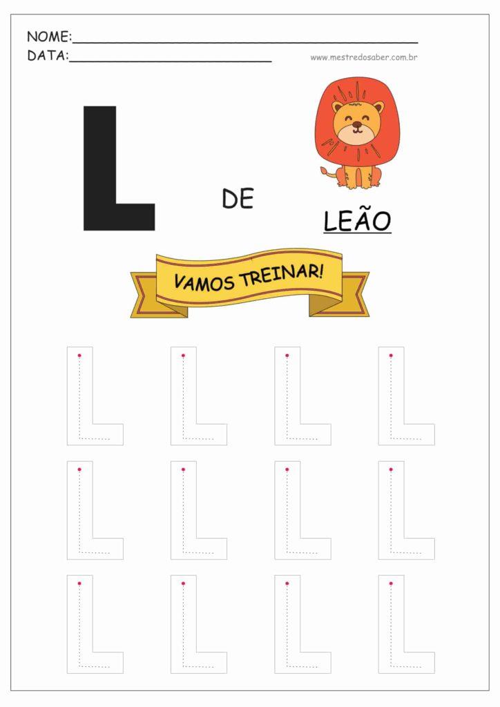 Letra L - Alfabeto Pontilhado para Imprimir