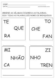 12 - Atividades de Português 1 ano Alfabetização