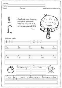 12 - Caderno de Caligrafia para imprimir letra L