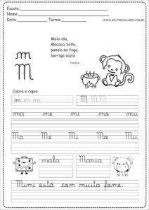 13 - Caderno de Caligrafia para imprimir letra M