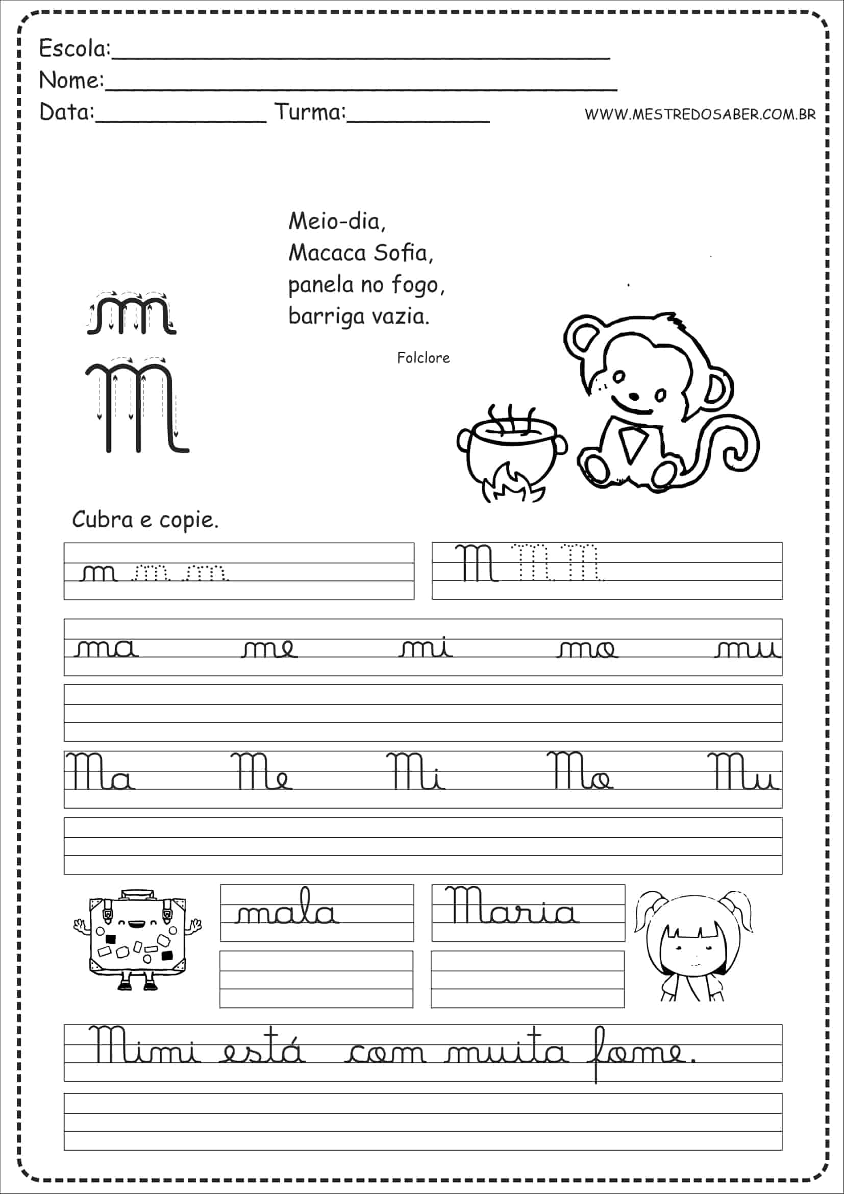 Caderno De Caligrafia Para Imprimir Mestre Do Saber