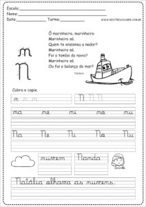 14 - Caderno de Caligrafia para imprimir letra N