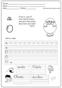15 - Caderno de Caligrafia para imprimir letra O