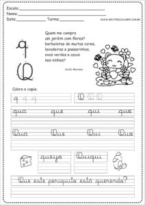 17 - Caderno de Caligrafia para imprimir letra Q