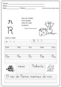 18 - Caderno de Caligrafia para imprimir letra R