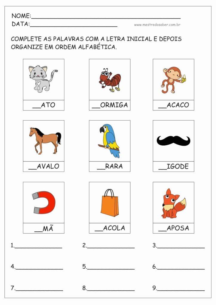 2 - Atividades de ordem alfabética