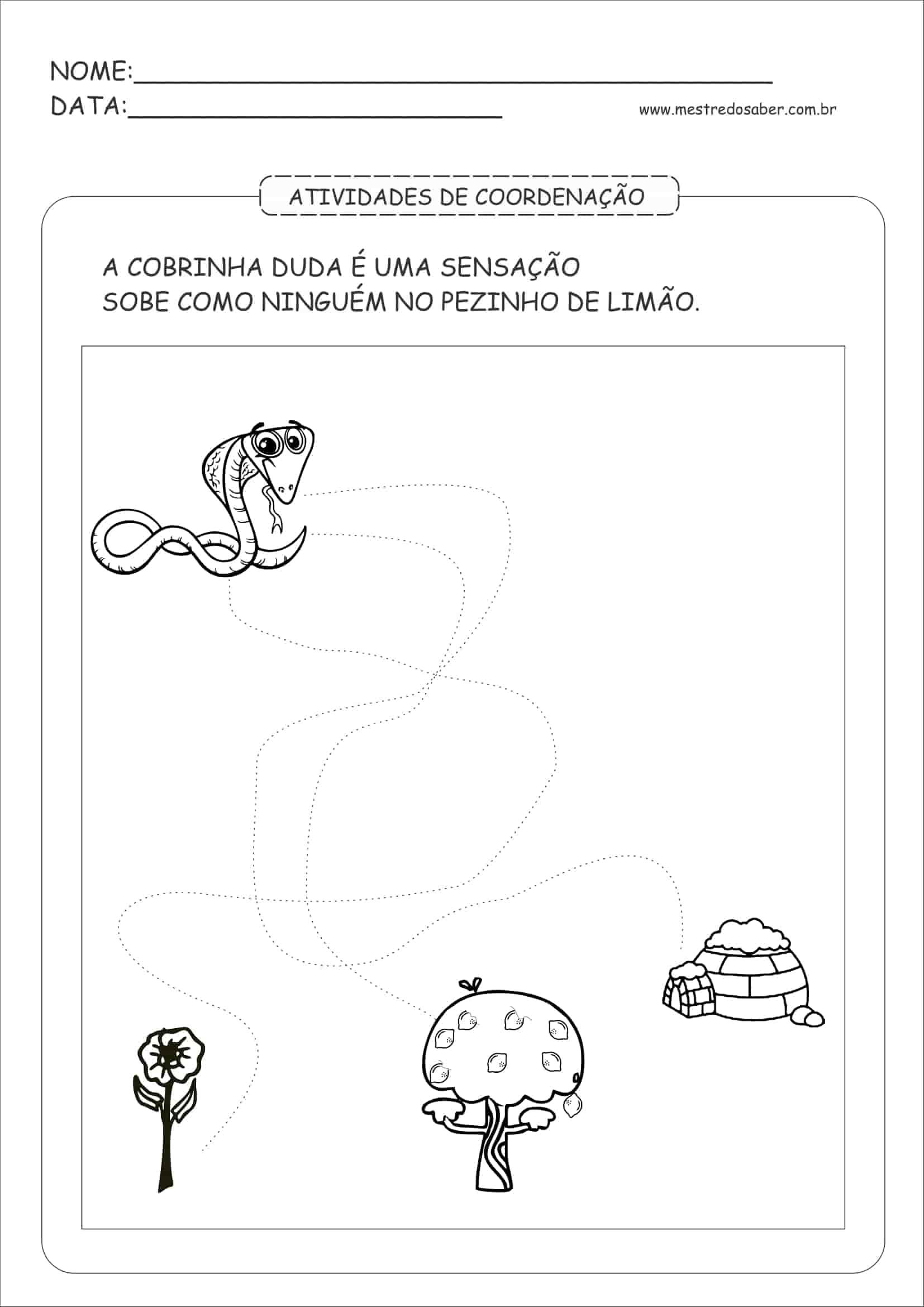 Exercicios de educação infantil para imprimir
