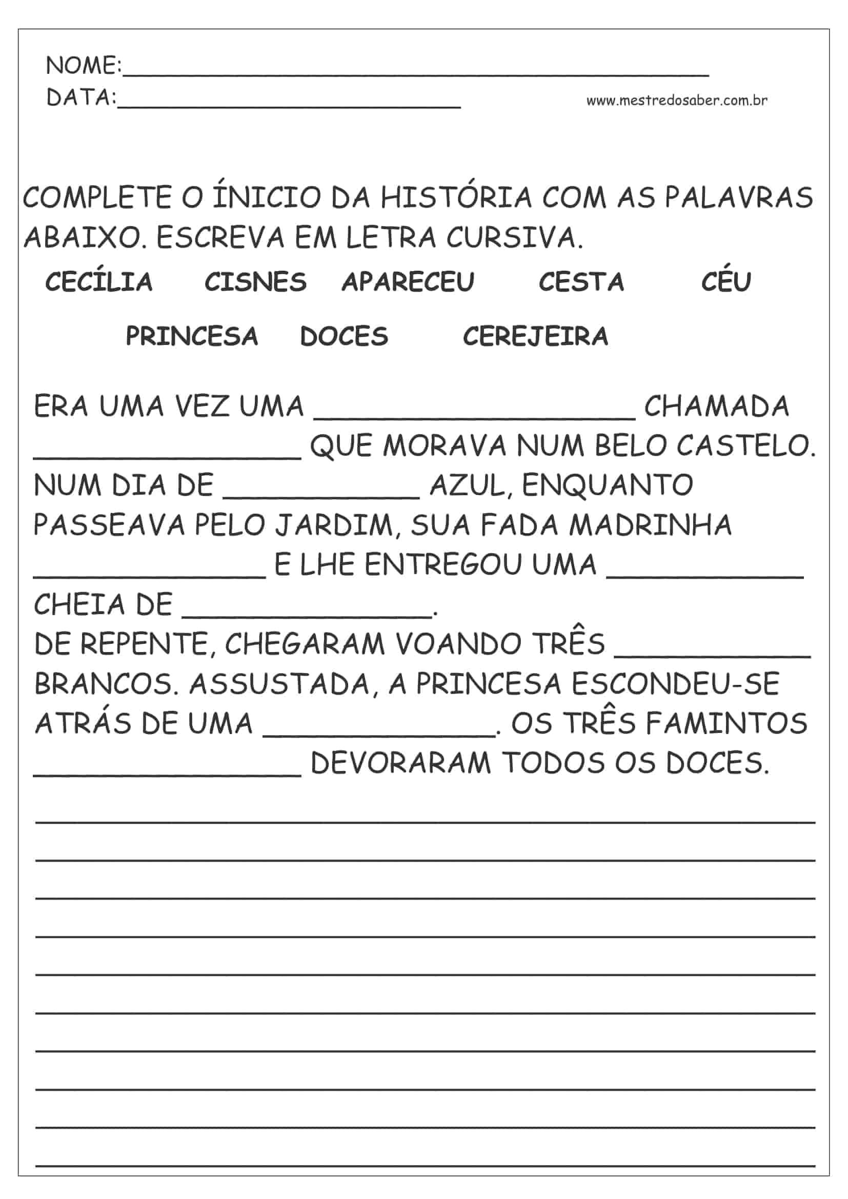 30 Atividades De Português 1 Ano Mestre Do Saber