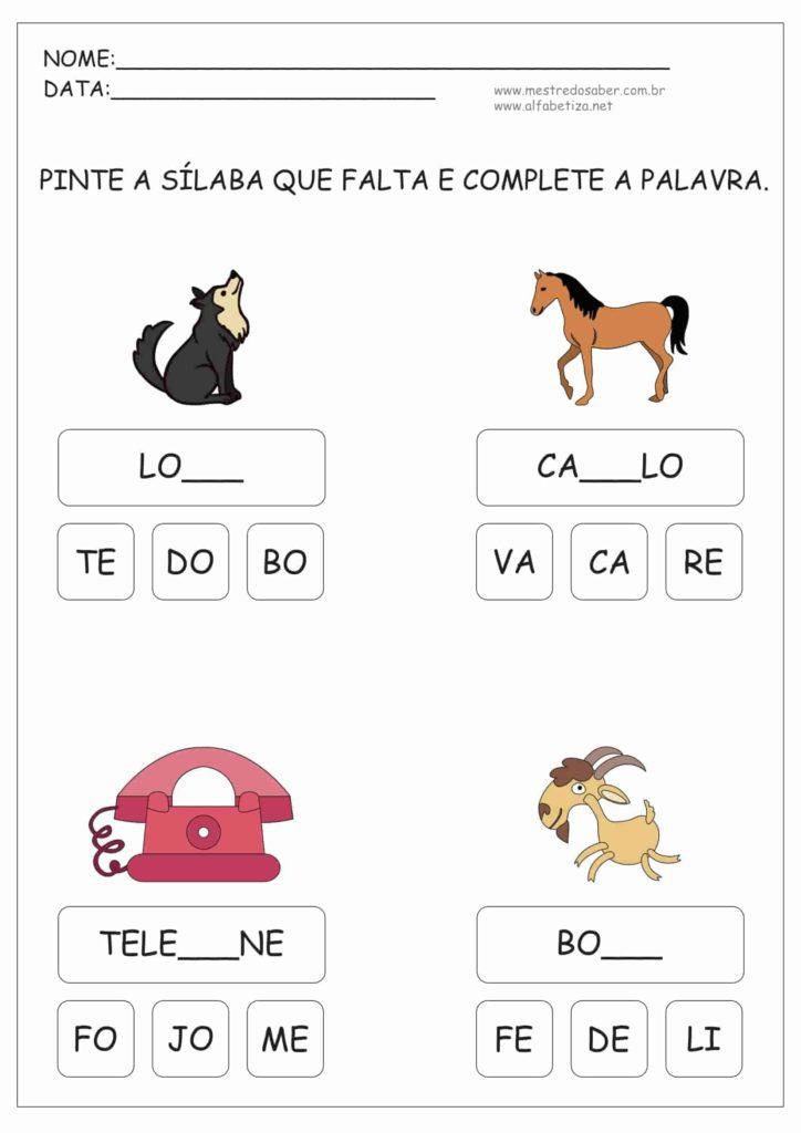 3 - Atividades de Alfabetização Sílabas