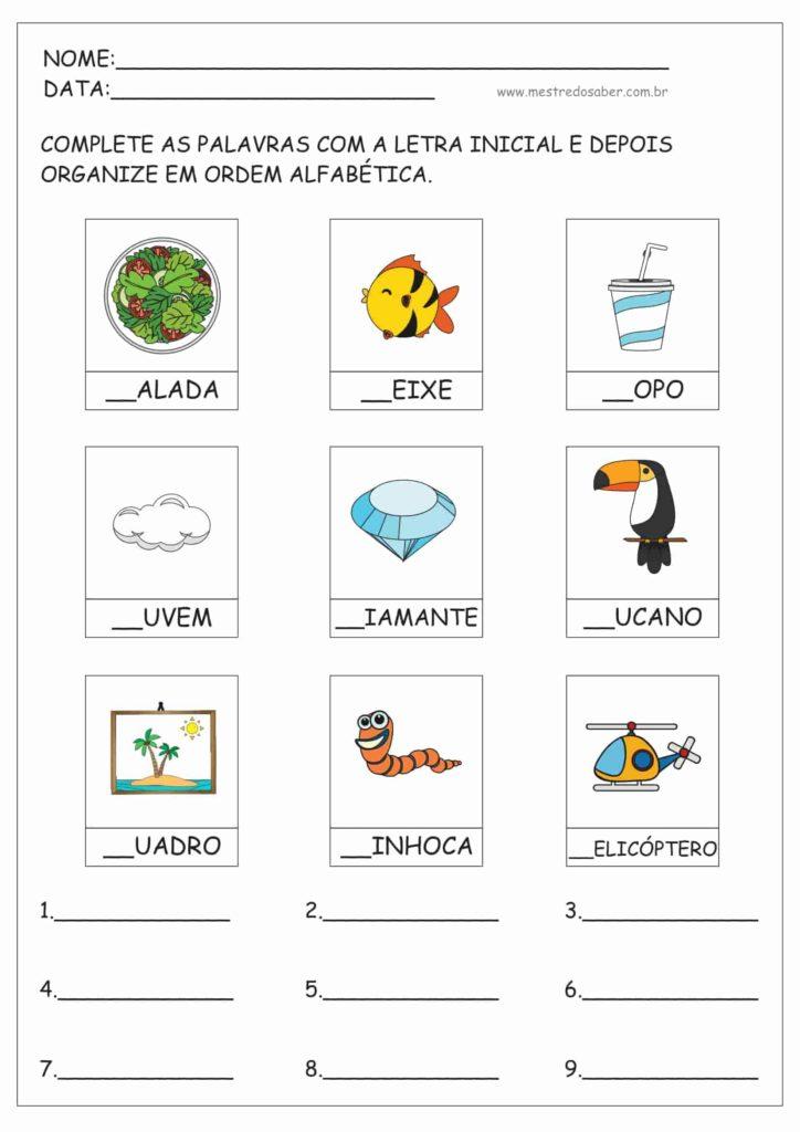 3 - Atividades de ordem alfabética