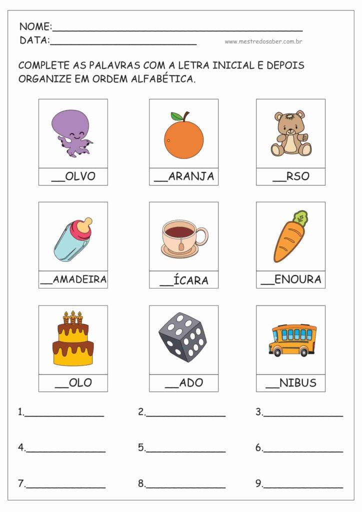 4 - Atividades de ordem alfabética