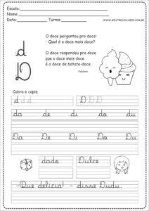 4 - Caderno de Caligrafia letra D