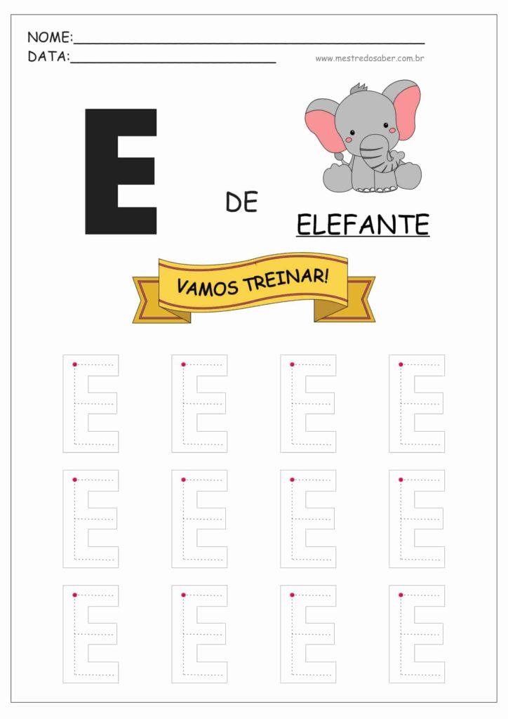 Letra E - Alfabeto Pontilhado para Imprimir