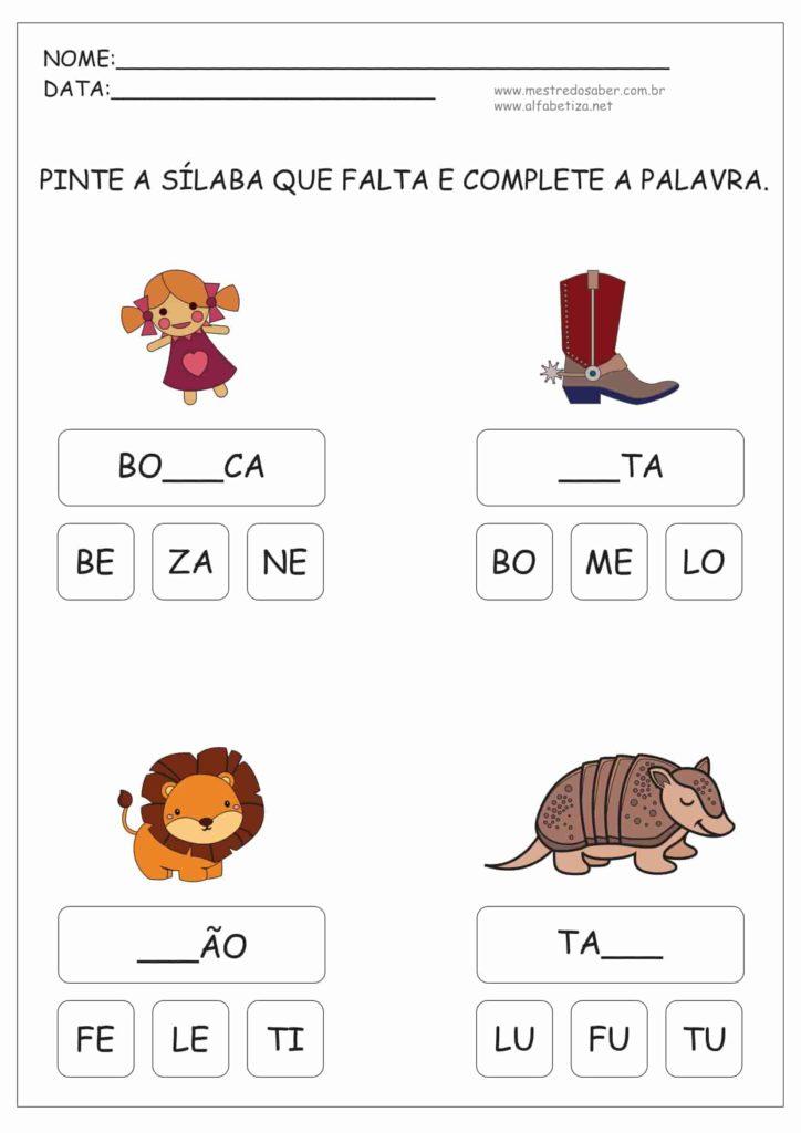 5 - Atividades de Alfabetização Sílabas