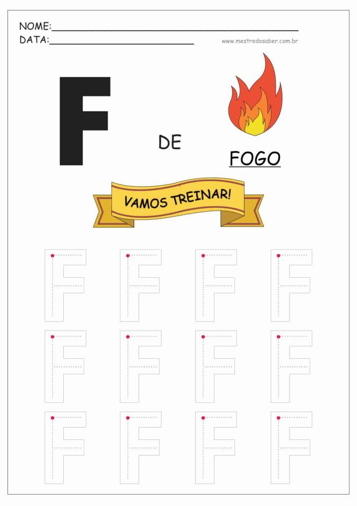 Letra F - Alfabeto Pontilhado para Imprimir