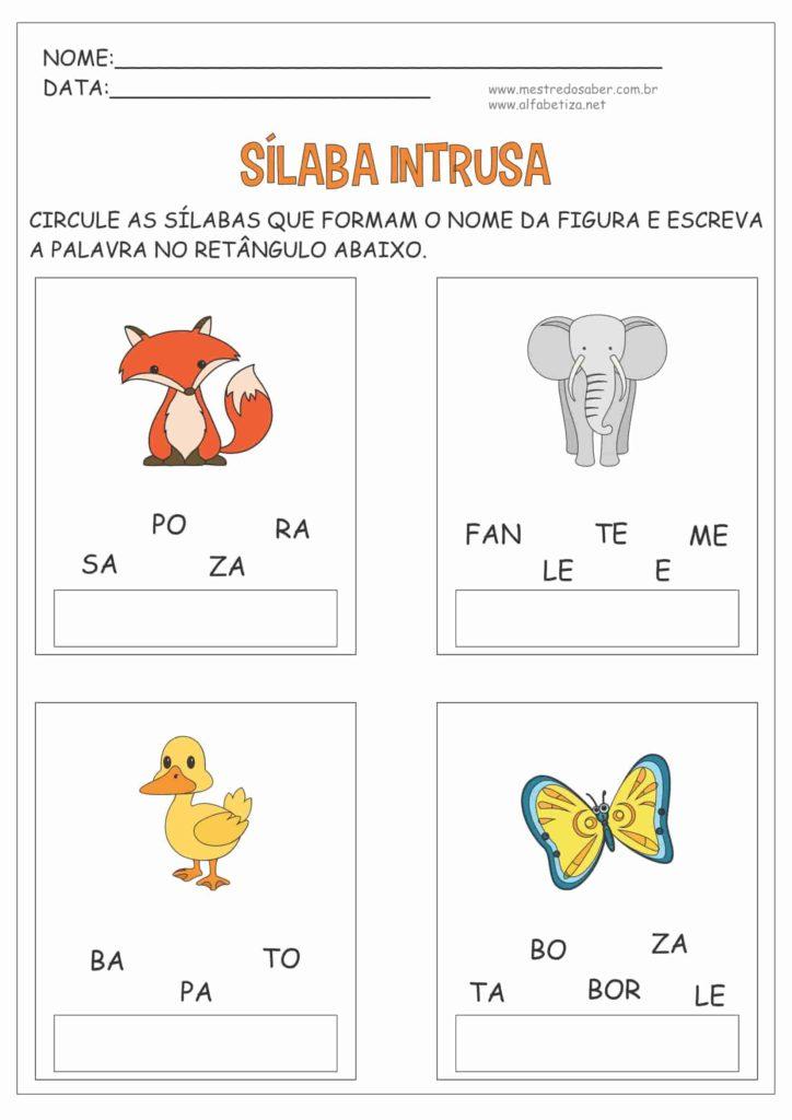 6 - Atividades com três Sílabas para Alfabetização