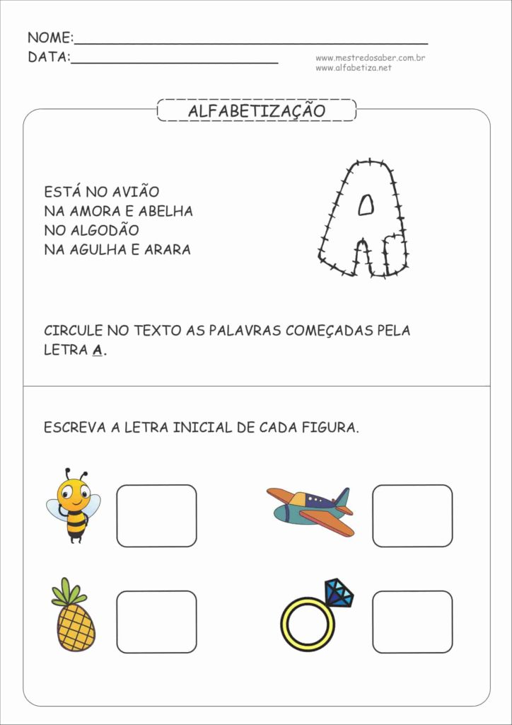 1 - Atividades de Alfabetização para Educação Infantil 5 anos