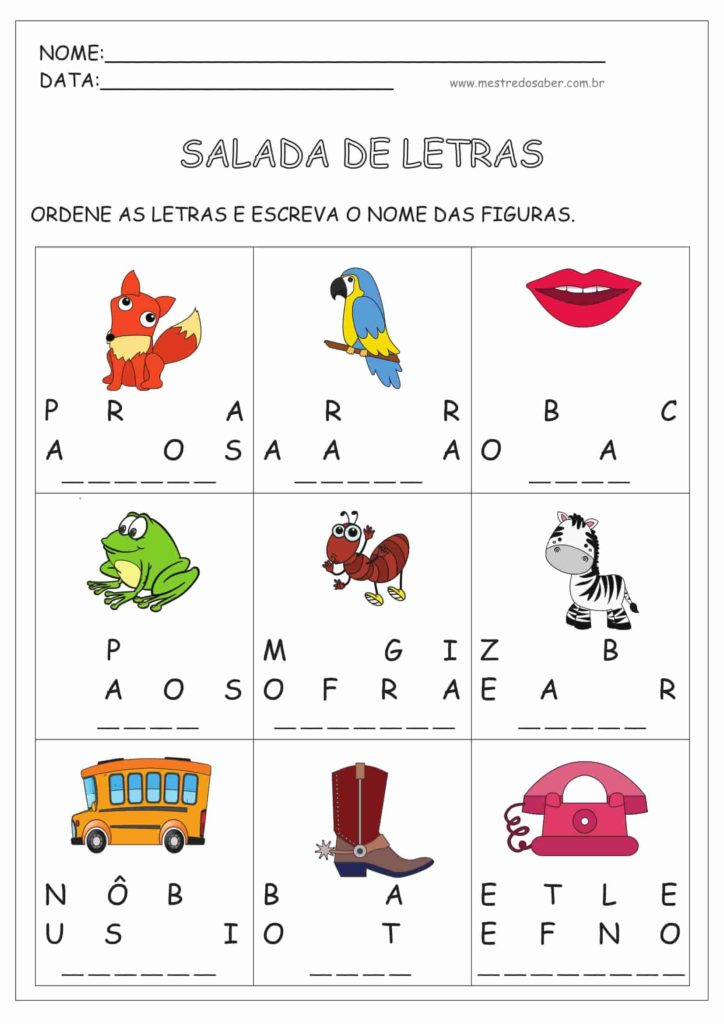 6 - Atividades de Alfabetização para Imprimir