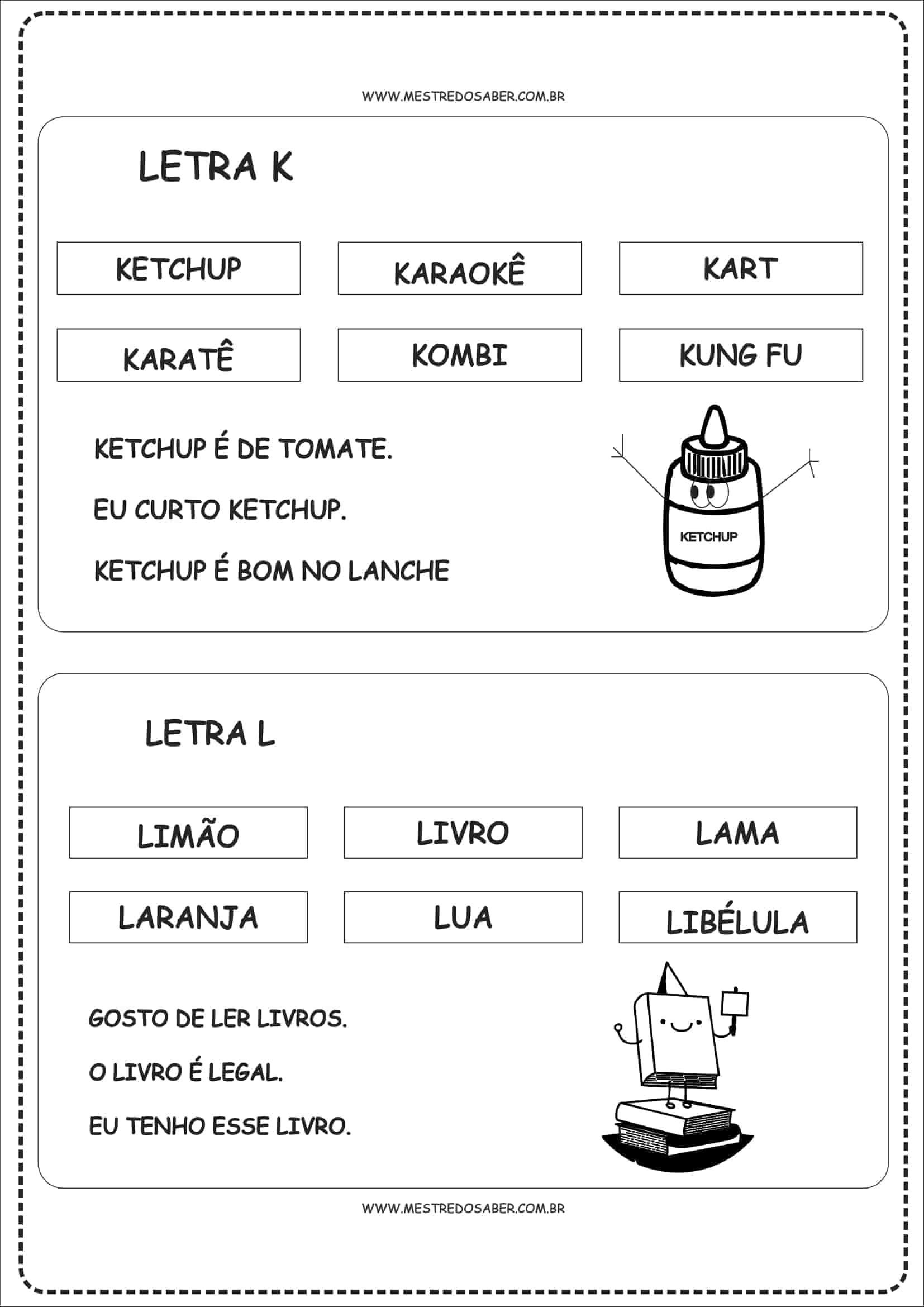 Fichas De Leitura Para Alfabetização De A A Z Mestre Do Saber