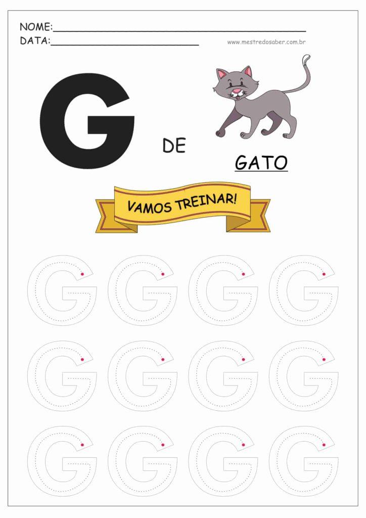 Letra G - Alfabeto Pontilhado para Imprimir