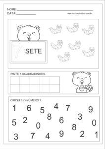 7 - Atividades com Números Educação Infantil