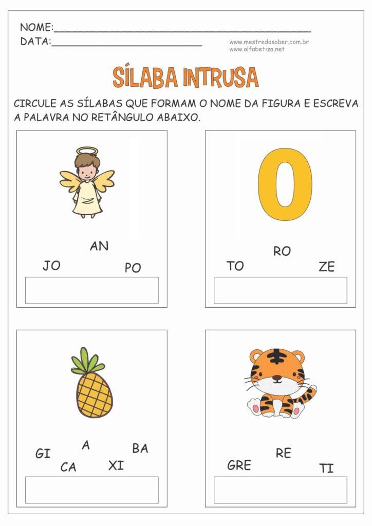 7 - Atividades com três Sílabas para Alfabetização