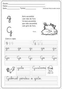 7 - Caderno de Caligrafia letra G