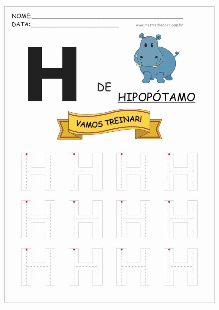 Letra H - Alfabeto Pontilhado para Imprimir