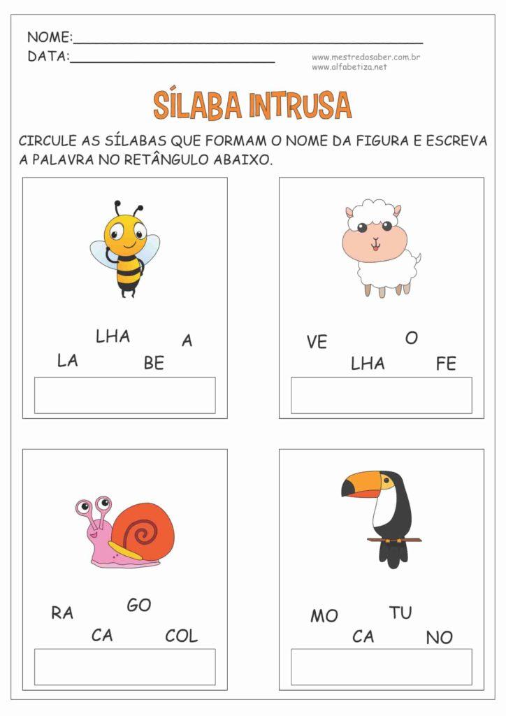 8 - Atividades com três Sílabas para Alfabetização