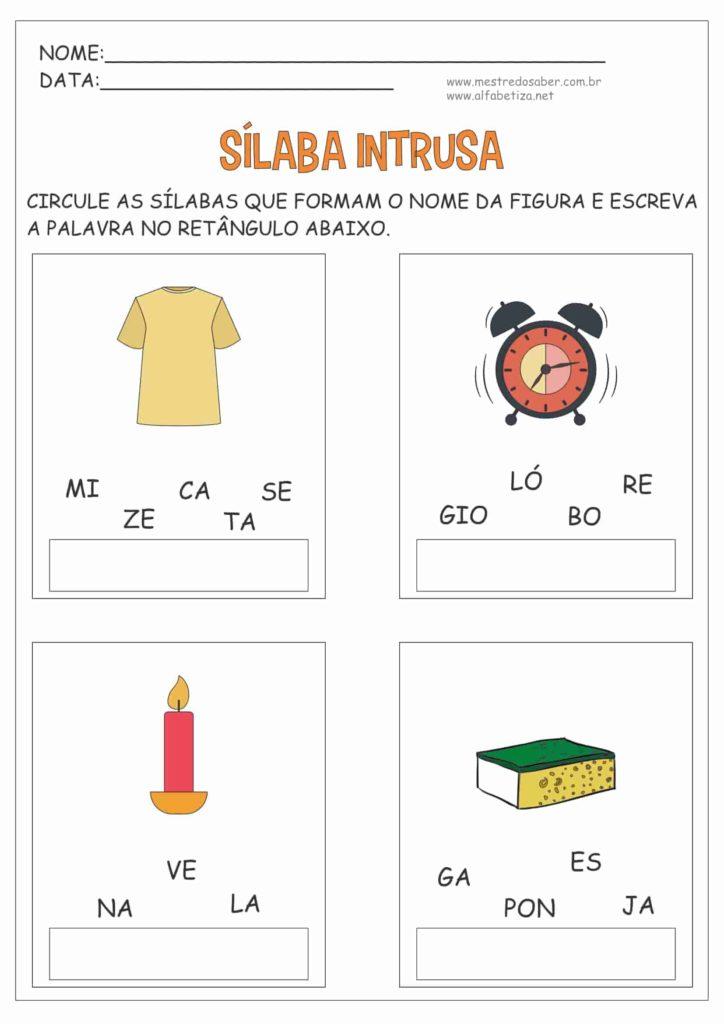 9 - Atividades com três Sílabas para Alfabetização