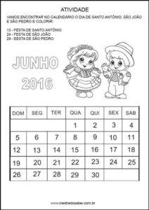 Atividades festa junina - Calendário