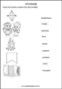 Atividades festa junina - ligue-os-nomes-silabico