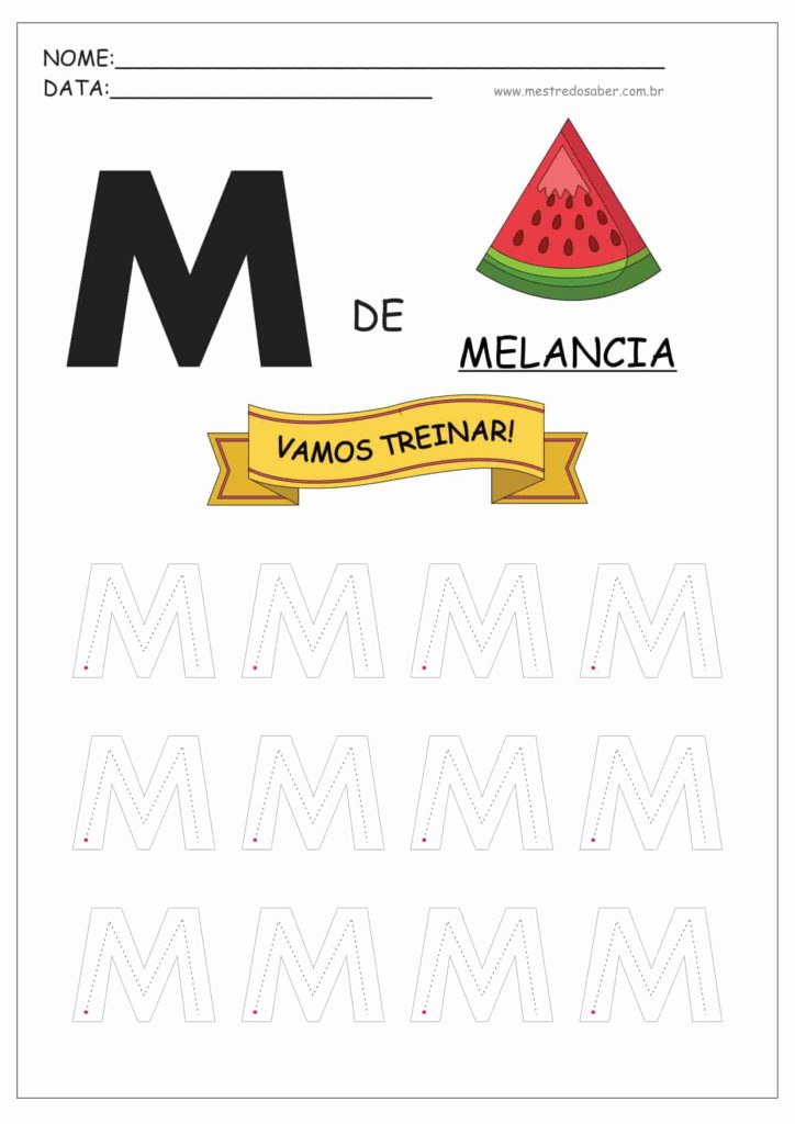 Letra M - Letras do Alfabeto para Imprimir