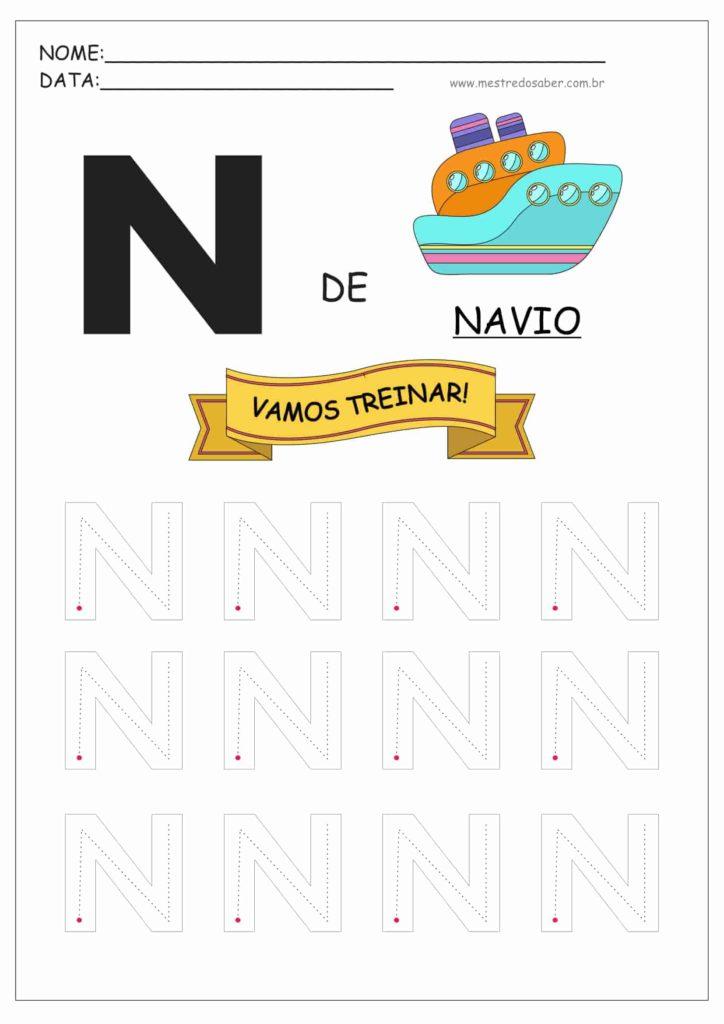 Letra N - Letras do Alfabeto para Imprimir