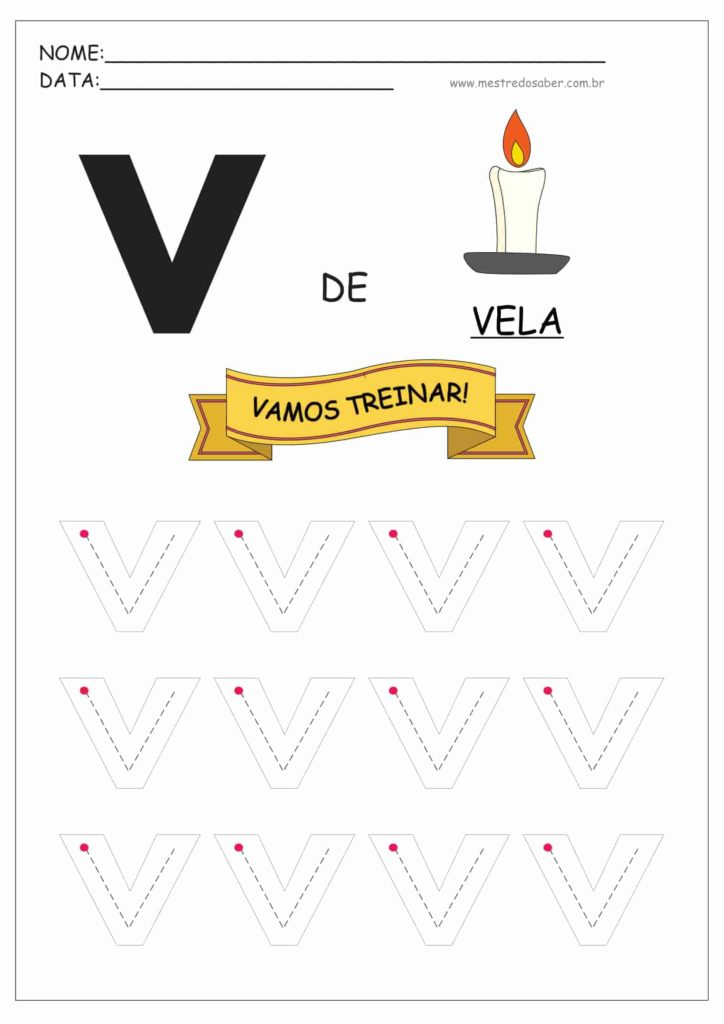 Letra V - Letras do Alfabeto para Imprimir