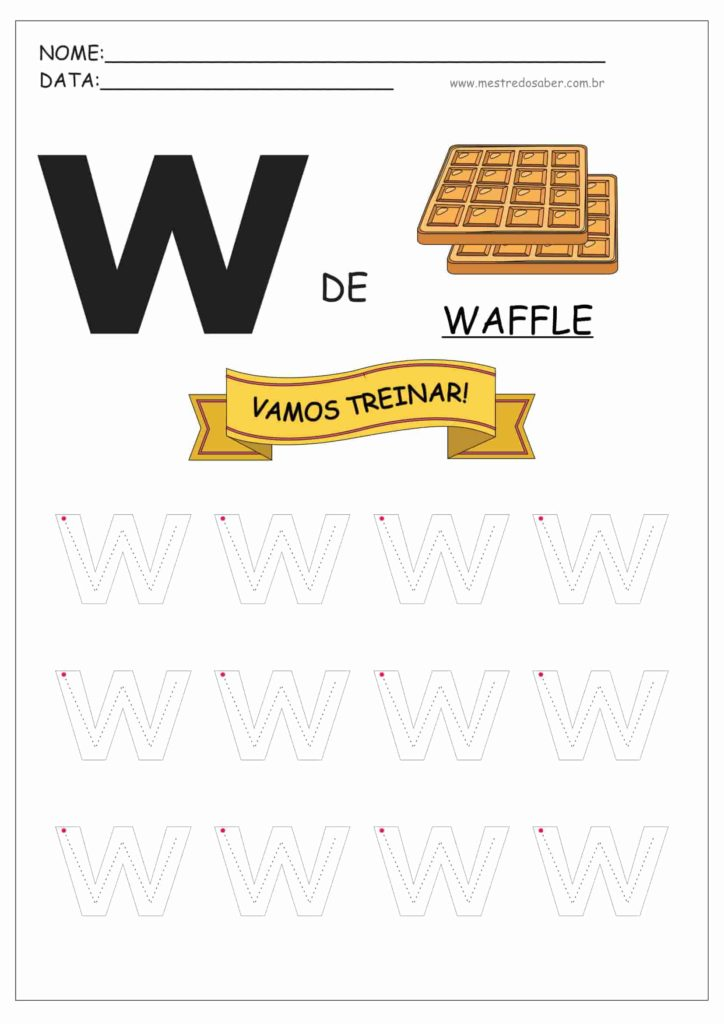Letra W - Letras do Alfabeto para Imprimir