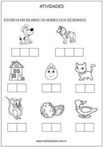 Atividades de sílabas para alfabetizar