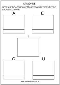 Alfabetização atividade com vogais
