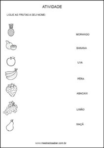 Projeto alimentação saudável educação infantil - Ligue e nomeie