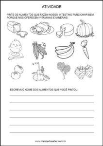 Projeto alimentação saudável educação infantil - Pinte os alimentos depois escreva o nome